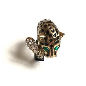 GOLD PLATED LEOPARD COCKTAIL RING RHINESTONE EYES